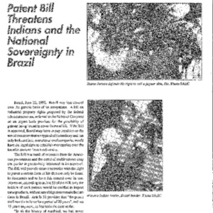 Patent Bill Threatens Indians and the National Sovereignty in Brazil (Brazil)